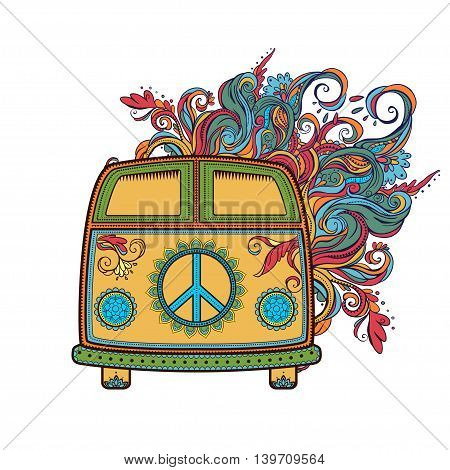 Hippie vintage car a mini van. Ornamental background. Love and Music with  hand-drawn doodle background and textures. Hippy color vector illustration. Retro 1960s, 60s, 70s