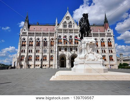 BUDAPEST HUNGARY - MAY 16: Count Gyula Andrassy Statue in Budapest on May 16 2016. Budapest it the capital and largest city of Hungary.
