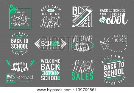 Vector Set of back to school, sale retro style elements. Typography and lettering vintage print back to school template. Graphic design for back to school poster, advertising