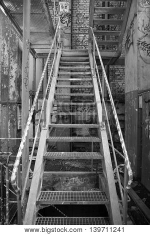Old stairs, forgotten house, lost place, black and white