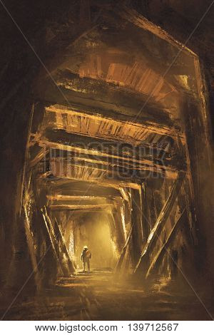 inside of the mine shaft, illustration, digital painting