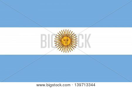 Argentine national flag in Authentic scale and color