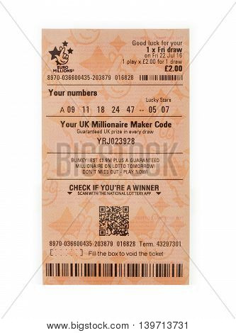 SWINDON UK - JULY 11 2016: New Euro Lottery ticket with QR code on a white background