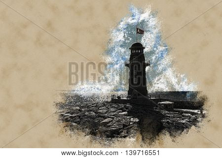 lighthouse in Alanya. Vintage painting, illustration travel texture