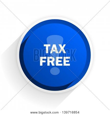 tax free flat icon with shadow on white background, blue modern design web element