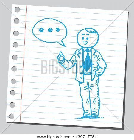 Businessman speaking three dots