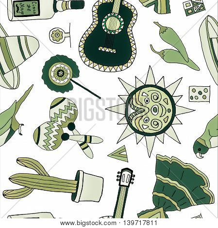 Seamless pattern with fiesta elements. Meaxican holiday background with hand drawn doodles.