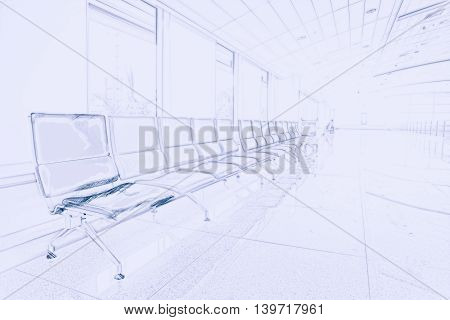 Airport waiting area with rows of blue seats. Background for topics of travel and business. Painting of travel scene, pencil outlines of background.
