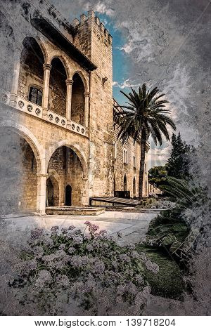 Almudaina palace with blooming pink flowers against blue sky and clouds, Palma de Mallorca, Balearic islands, Spain. Vintage painting, background illustration, beautiful picture, travel texture