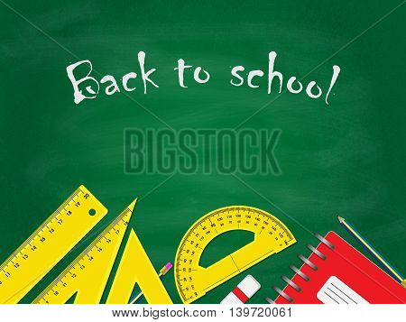 Back to school concept, school items placed on the bottom of green blackboard.