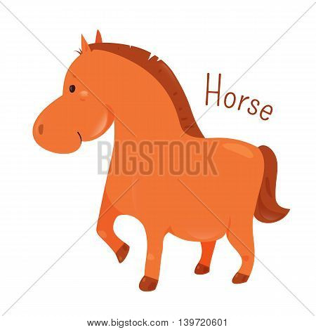 Horse. Equus ferus caballus. Odd-toed ungulate mammal belonging to the taxonomic family Equidae .Part of series of cartoon home animal species. Domestic pets. Sticker for kids. Child fun icon. Vector