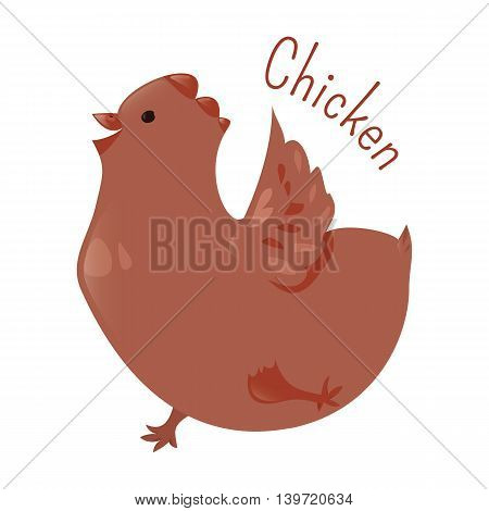 Chicken isolated. Gallus domesticus. Type of domesticated fowl, subspecies of red junglefowl. Part of series of cartoon home animal species. Domestic pets. Sticker for kids. Child fun icon. Vector