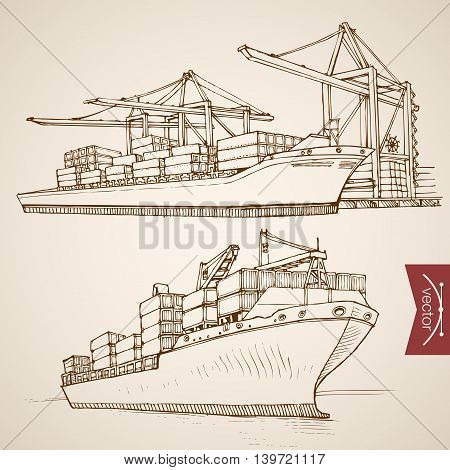 Engraving vintage hand drawn vector Ship cargo container Sketch