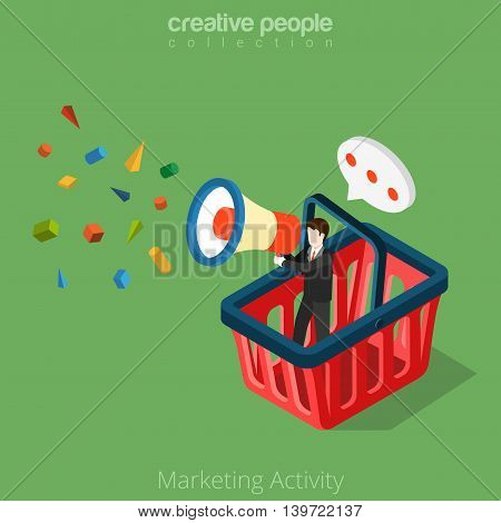 Marketing Activity business 3d Flat isometric man basket vector