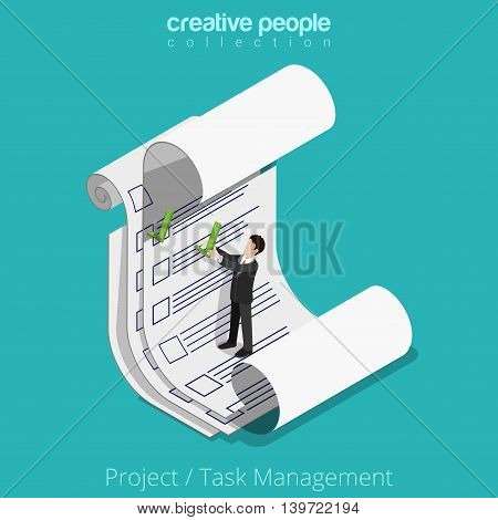 Flat 3d isometric Man on paper sheet vector Project Task Manager