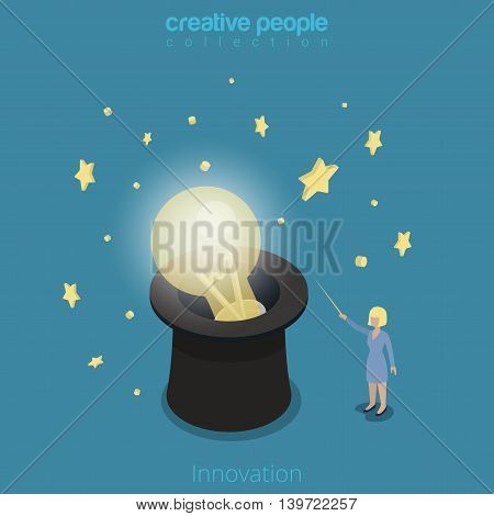 Innovation 3d Flat isometric Woman lamp hat magic wand vector