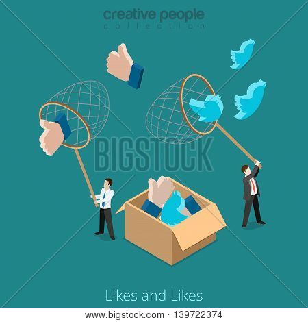 Flat isometric man Twitter Like Business Promotion 3d vector