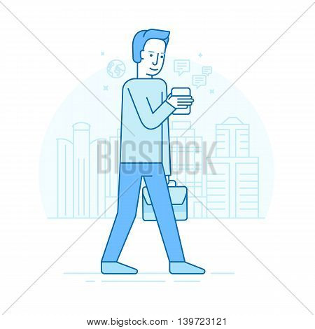 Vector Set Of Illustration - Male Character - Smartphone Addict