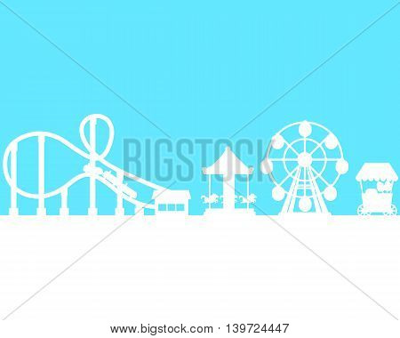 Silhouette amusement park on the sky background. Vector illustration