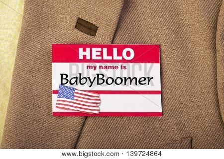 My name is Baby Boomer name tag .