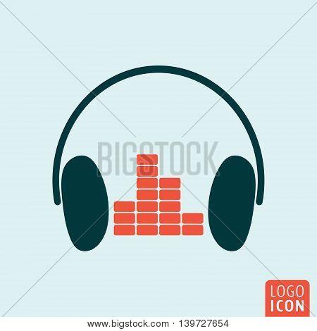 Headphones icon. Headphones with equalizer symbol. Vector illustration