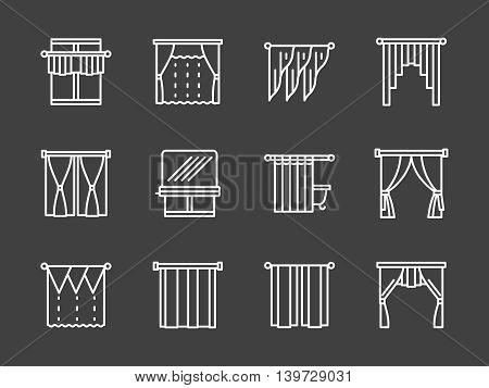 Classic and french curtains, roman blinds and other samples for window treatment. Decoration elements for various interior designs. Set of simple white line style vector icons on black background.