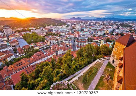 Sunset above Ljubljana aerial view capital of Slovenia