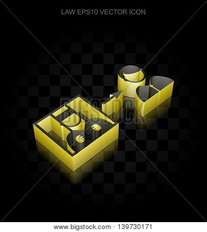 Law icon: Yellow 3d Criminal Freed made of paper tape on black background, transparent shadow, EPS 10 vector illustration.