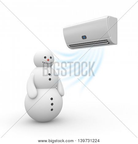 Air conditioner and snowman. 3d illustration