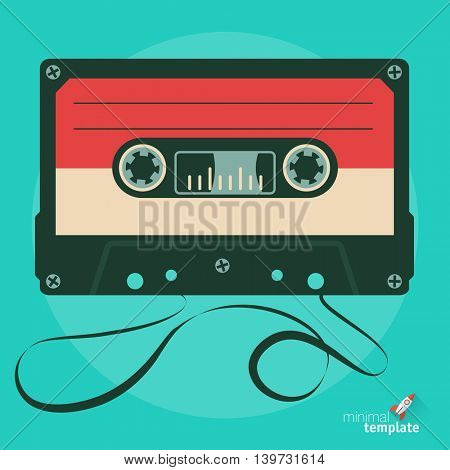 Retro audio tape cassette. Flat design vector illustration.