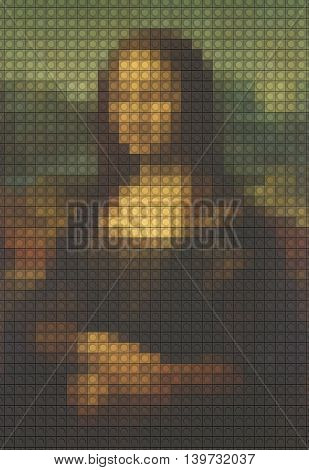 Mona Lisa from plastic building blocks 3D rendering