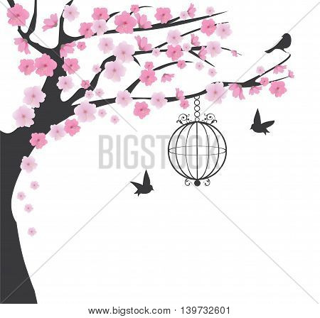vector illustration of vintage bird cage and cherry tree