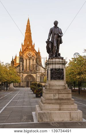 Air David Livingstone's statue, with Glasgow Cathedral in the background