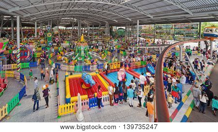 Ho Chi Minh city ( Saigon ) Vietnam - September 02 2015: Kids zone and playground in children water park and historical theme amusement park Suoi Tien - popular travel destination in south Vietnam.