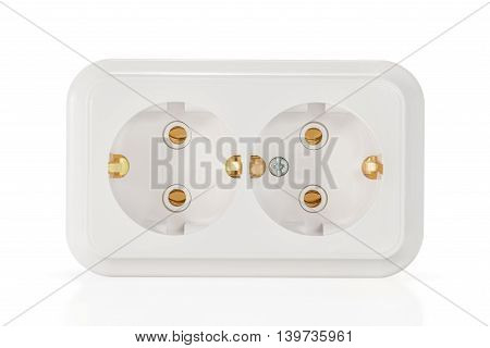 White double electric socket with grounding and vertical holes isolated on a white background