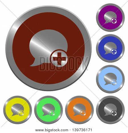 Set of color glossy coin-like Post blog comment buttons. poster