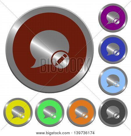 Set of color glossy coin-like Moderate blog comment buttons.