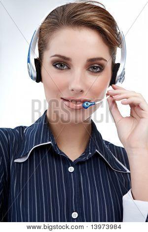 Beautiful Customer Representative girl with headset