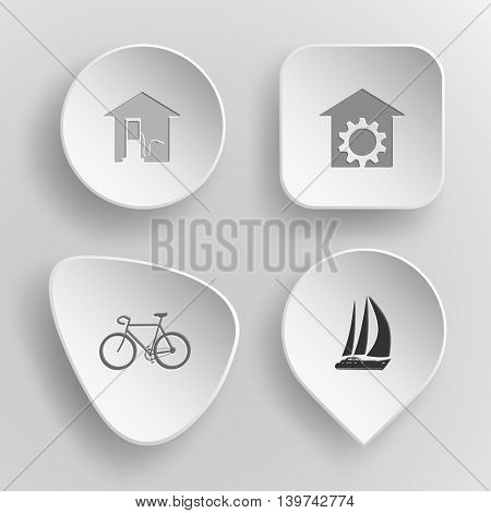 4 images: car fueling, repair shop, bicycle, yacht. Transport set. White concave buttons on gray background. Vector icons.