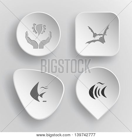 4 images: bird in hands, bats, fish. Animal set. White concave buttons on gray background. Vector icons.