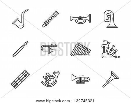 Wood, brass or keyboards wind instruments. Musical instrument for orchestras, chamber ensembles. Set of simple black line style vector icons on white.