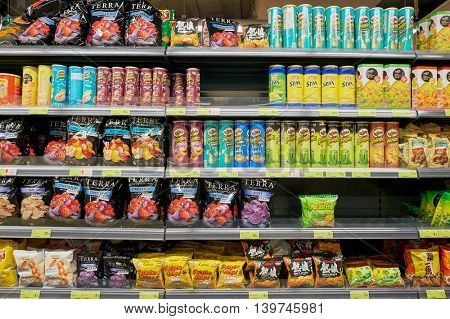 MACAO, CHINA - FEBRUARY 17, 2016: inside of a food store in Macao. Macao is an autonomous territory on the western side of the Pearl River Delta, China.