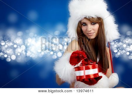 Portrait of beautiful sexy Girl Santa Claus Kleider