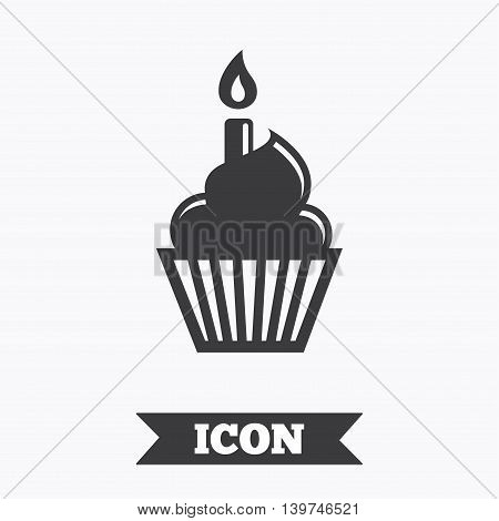 Birthday cake sign icon. Cupcake with burning candle symbol. Graphic design element. Flat birthday cake symbol on white background. Vector