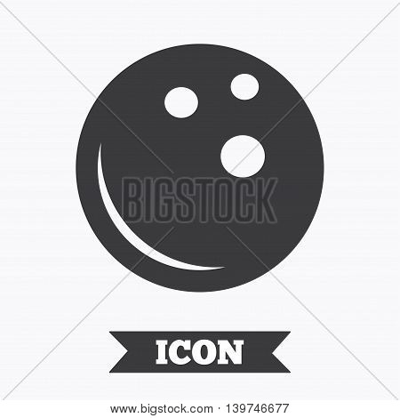Bowling ball sign icon. Bowl symbol. Graphic design element. Flat bowling symbol on white background. Vector