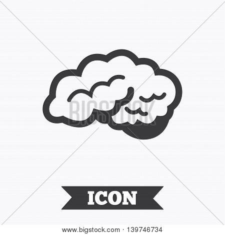 Brain with cerebellum sign icon. Human intelligent smart mind. Graphic design element. Flat neurology symbol on white background. Vector