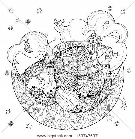 Cute sleeping cat with wings on christmas half moon with stars and flowers. Hand drawn doodle zen art.Adult anti stress coloring book or tattoo boho style.
