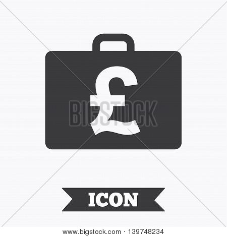 Case with Pounds GBP sign icon. Briefcase button. Graphic design element. Flat diplomat symbol on white background. Vector