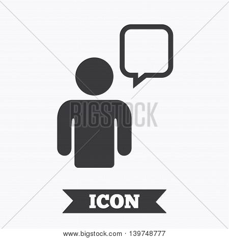 Chat sign icon. Speech bubble symbol. Chat bubble with human. Graphic design element. Flat chat symbol on white background. Vector