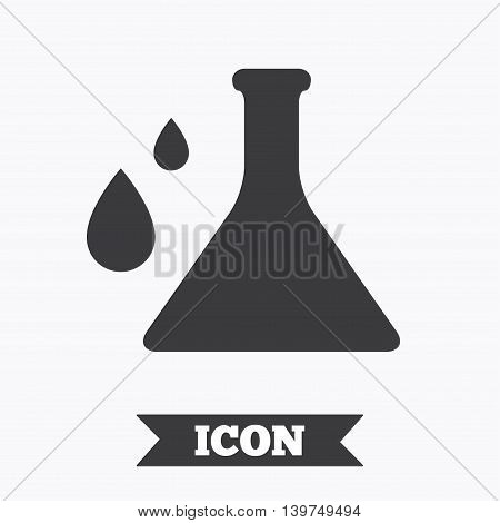 Chemistry sign icon. Bulb symbol with drops. Lab icon. Graphic design element. Flat chemistry symbol on white background. Vector